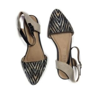 Rampage Abstract Straw Pointed Flat Sandal
